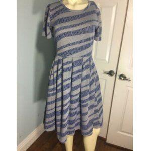 LuLaRoe Amelia Dress Striped Blue Shade Grey S